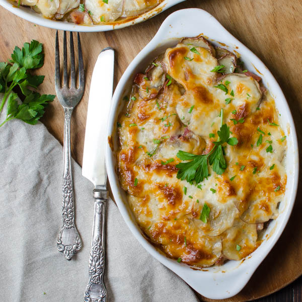 Serving Potato and Ham Au Gratin