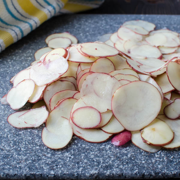 very thinly sliced potatoes