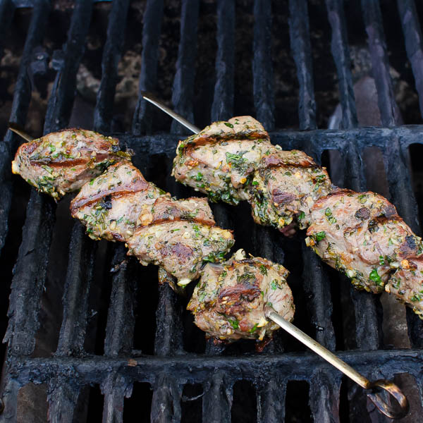 Grilled Herb-Crusted Lamb Kebabs | Garlic + Zest