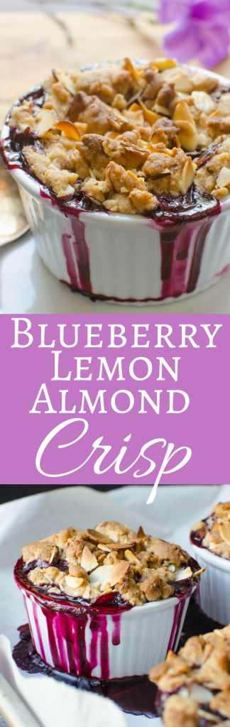 This quick and easy blueberry crisp recipe has a citrusy blueberry filling topped with crisp almond crumble.  A great summer dessert