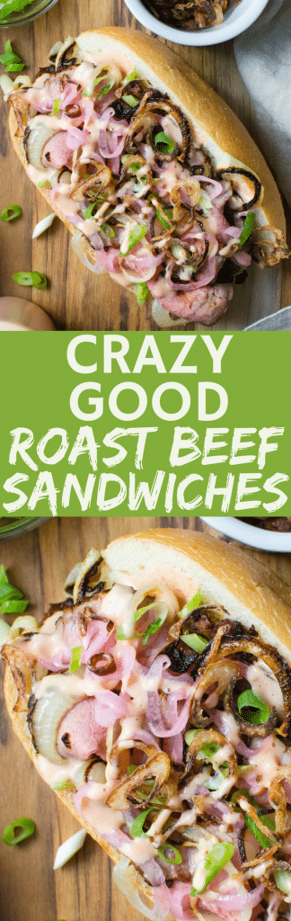 The best roast beef sandwich recipe is Don't Cry For Me Argentina Roast Beef Sandwiches, with crispy fried shallots, pickled onions & smoky sauce plus tender medium rare roast beef. Heavenly! #roastbeef #beef #sandwiches #sandwich #roastbeefsandwich #shallots #specialsauce #onions #pickledonions #comfortfood #gamedaysandwich #superbowlfood #superbowlsnacks #tailgatingsandwich #tailgating