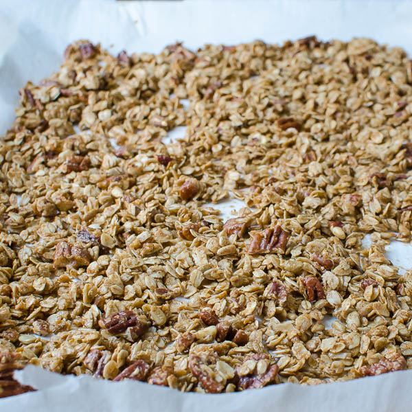 spread granola on a sheet pan