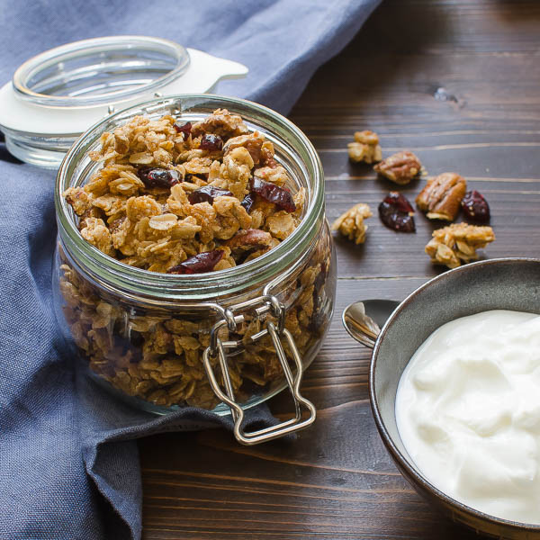 Maple Pecan Cinnamon Granola with yogurt