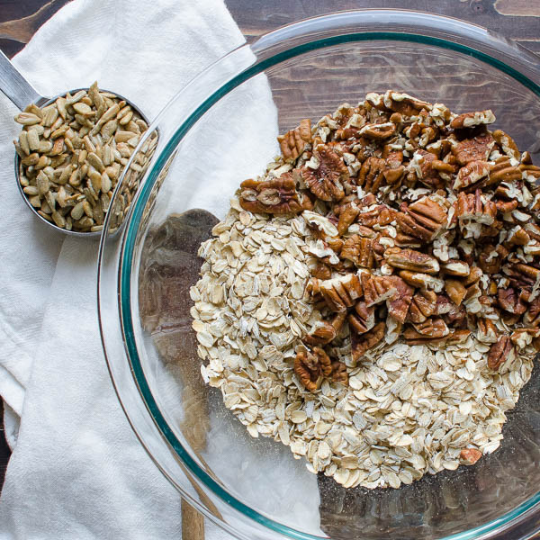 sunflower seeds, oats and pecans