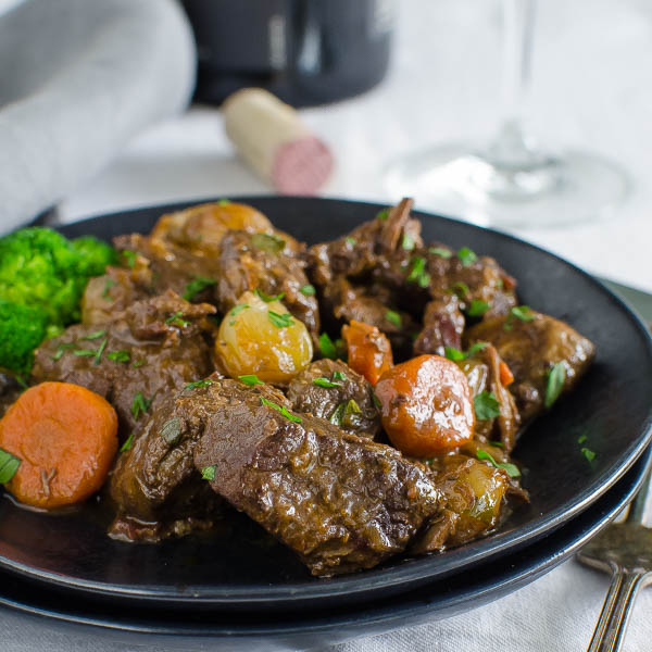 Julia Child's Boeuf Bourguignon closeup