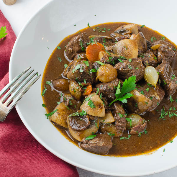 Julia Child's Boeuf Bourguignon in a dish