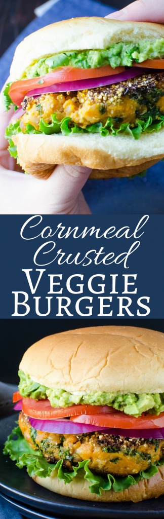 This easy recipe for Cornmeal Crusted Veggie Burgers will surprise you! A soft interior with a crispy cornmeal coating! Delicious!
