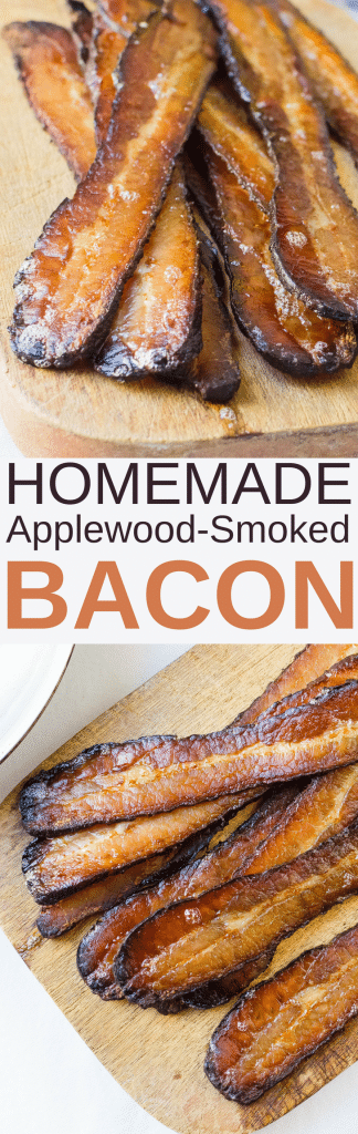"Looking for a good smoked bacon recipe? My Homemade Applewood Smoked Bacon is it! Learn ""What is pink salt"" ""How to cure pork belly"" and How to smoke bacon"" with step by step photos. #homemadebacon #bacon #applewoodsmokedbacon #smokedbacon #curedporkbelly #porkbelly #pinksalt #curingsalt #smoker #applewoodchips #woodchips #weber #baconfromscratch"