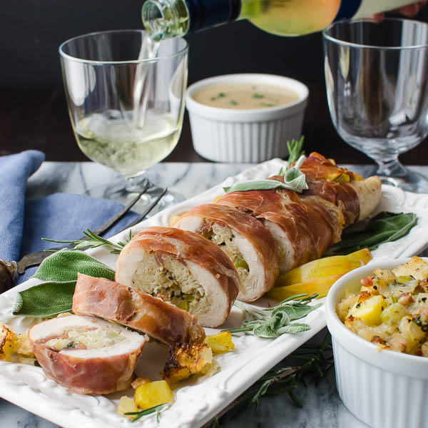 Serving Parmesan Apple Stuffed Turkey Tenderloin
