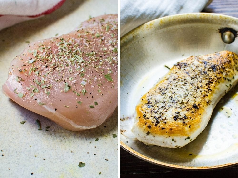 seasoning and pan frying the chicken breast.