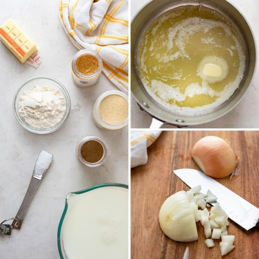 ingredients for bechamel, melting butter and dicing onion.