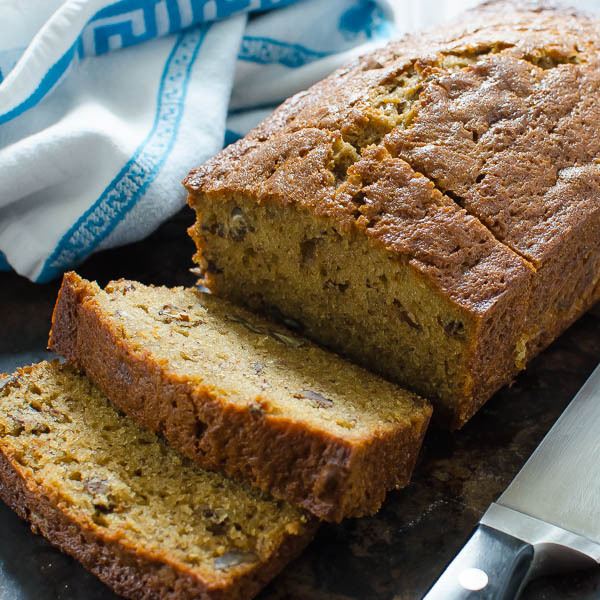 Bourbon Brown Sugar Banana Bread sliced