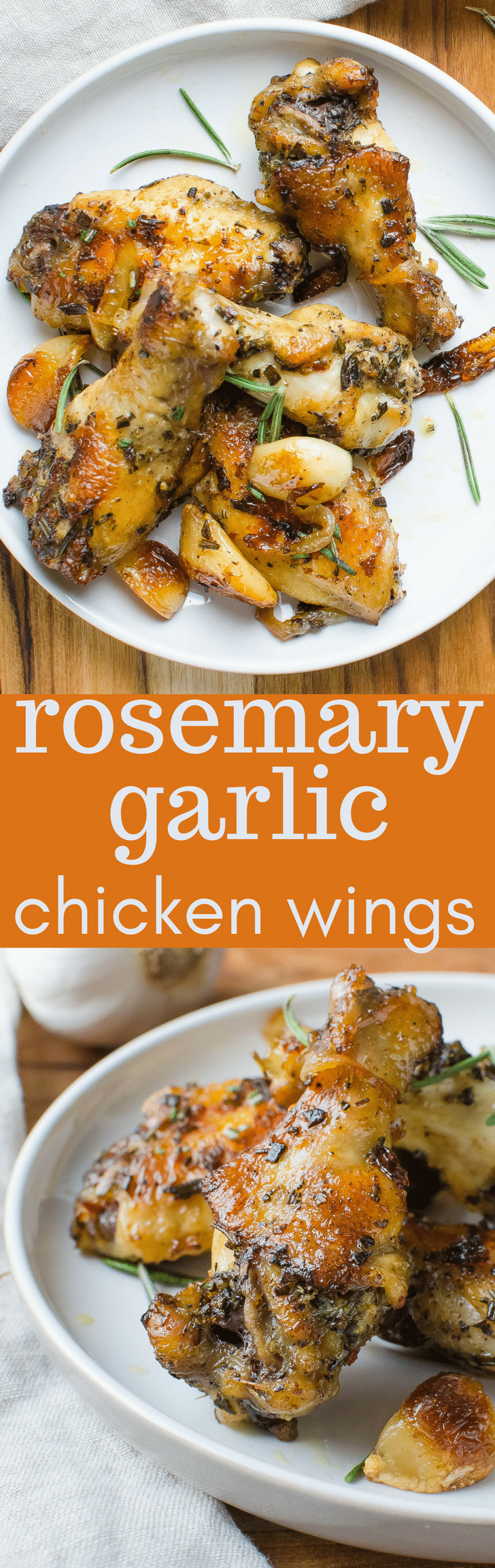 The best wing recipe! Rosemary Garlic Chicken Wings have tons of flavor for your game day snacking! Use a cast iron skillet to get a good crust and sear! #wings #chickenwings #garlic #rosemary #chicken #paleo #onions #gameday #superbowl #superbowlsnacks #gamedaysnacks #tailgating #castironskillet #chickenwingrecipe #wingrecipe #easychickenwingrecipe #snacks #savorysnacks #appetizers #horsdoeuvres