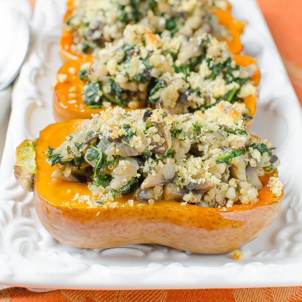 Savory Stuffed Honeynut Squash on a platter