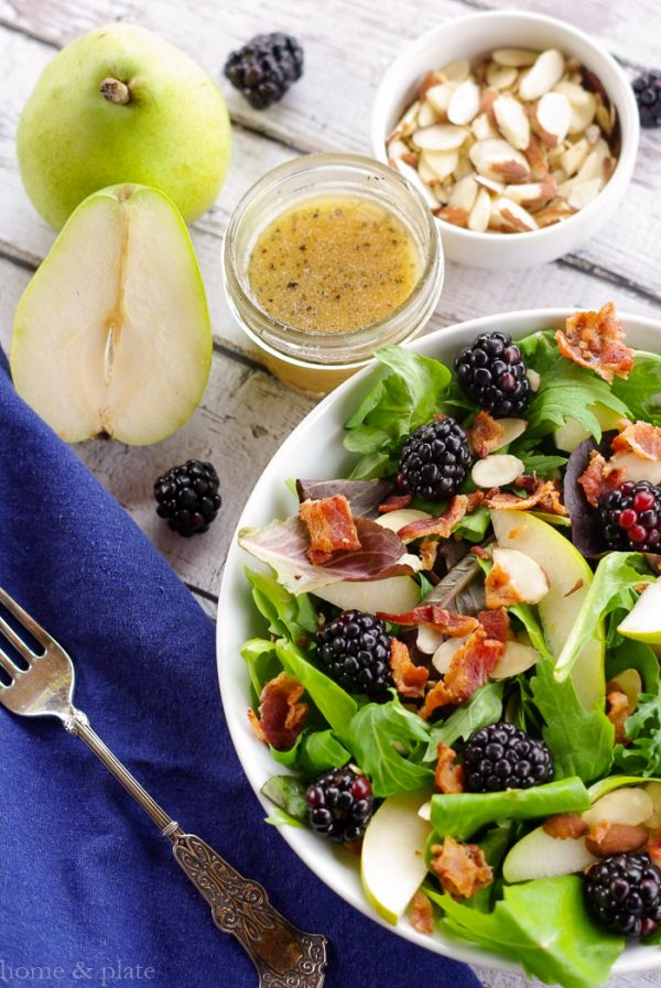 Anjou Pear & Blackberry Salad & Warm Bacon Vinaigrette