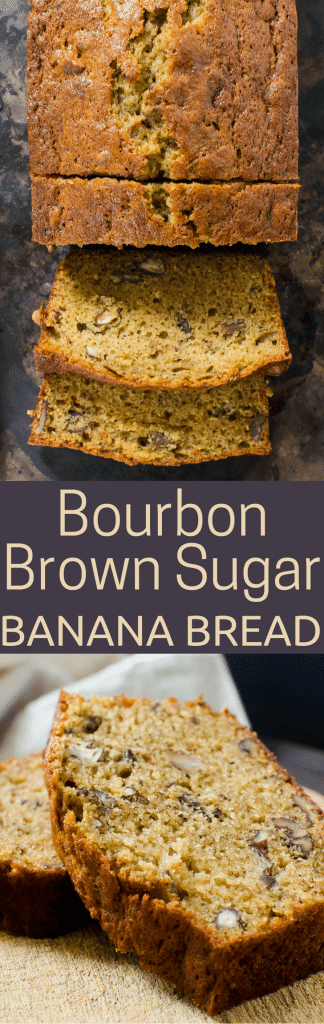 The BEST banana bread recipe, this Bourbon Brown Sugar Banana Bread is studded with toasted pecans. Perfect for breakfast, brunch or an anytime snack, this quick bread recipe is easy to make. #bananabread #bananas #bourbon #quickbread #breakfast #brunch #breakfastbread #brunchbread #snackbread #snackcake #brownsugar #bakingbread #breadbaking #breadrecipes #quickbreadrecipes #bananabreadrecipe #bestbananabread #cookingwithalcohol