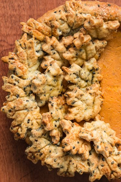 Bourbon Pumpkin Pie with Black Sesame Crust