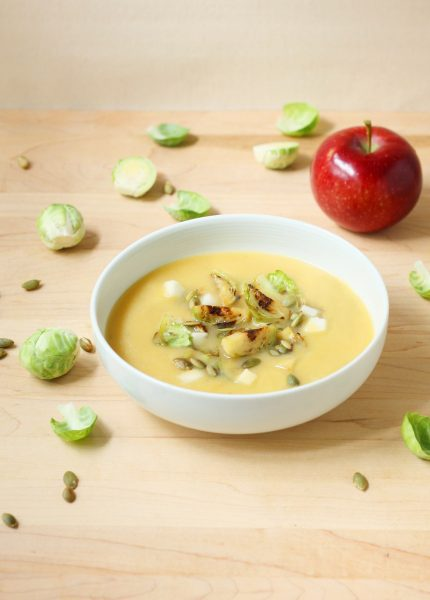 Miso Squash Soup with Brussels Sprouts and Apple