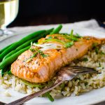 Bourbon Brown Sugar Glazed Salmon