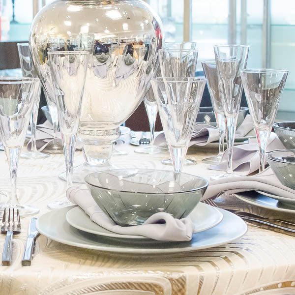 A mercury glass centerpiece makes everything sparkle!