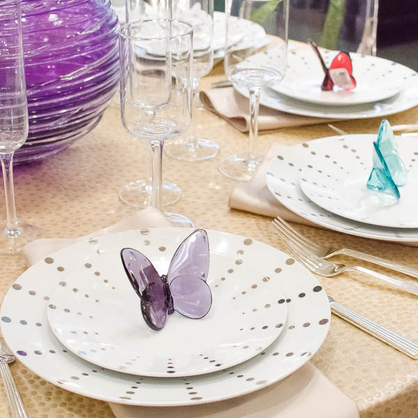 The polka dot pattern is repeated in the linens for a very cohesive look. Stained-Glass butterflies make a lovely party favor!