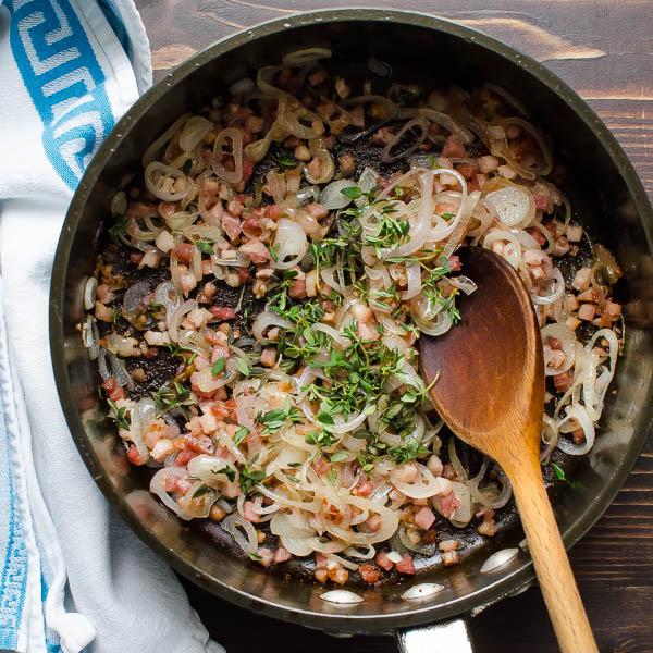 sautéed pancetta and shallots