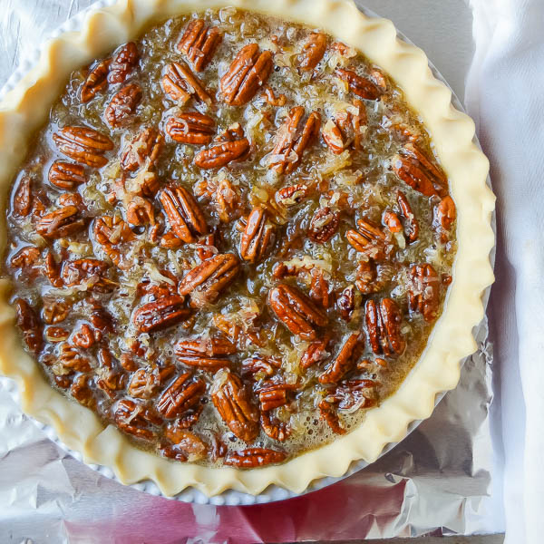Orange Coconut Pecan Pie in pie shell