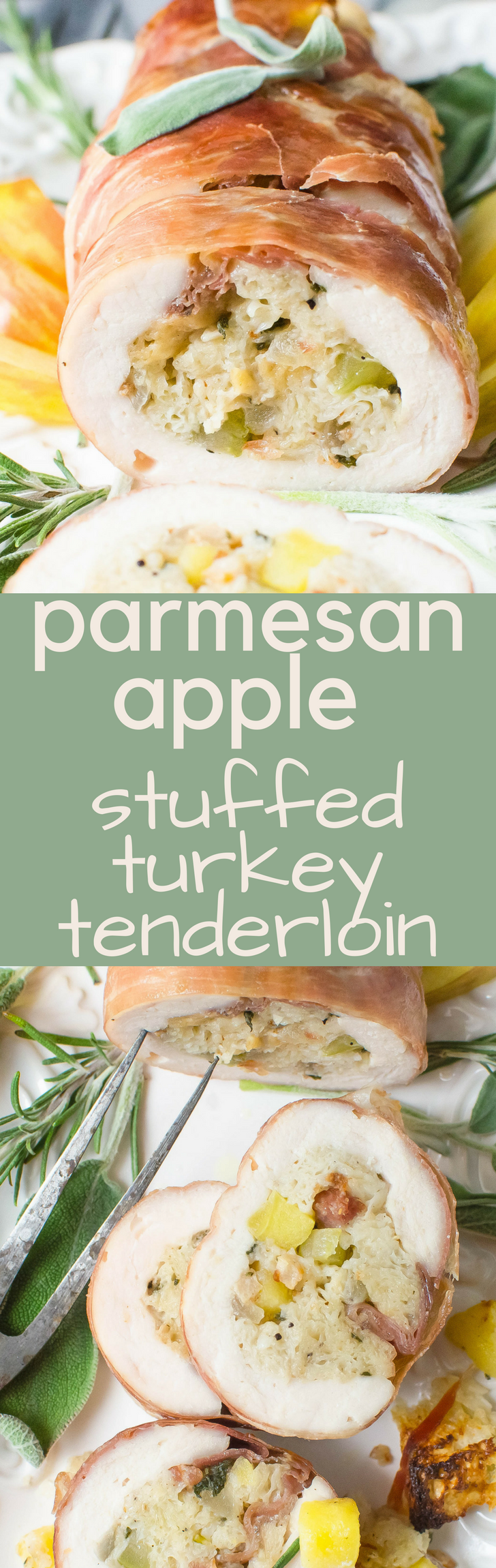 Easy Parmesan Apple Stuffed Turkey Tenderloin is a Thanksgiving meal for a smaller crowd. Homemade stuffing and gravy adds a holiday feel to any occasion!