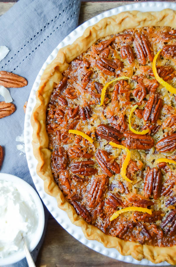 Orange Coconut Pecan Pie with napkin