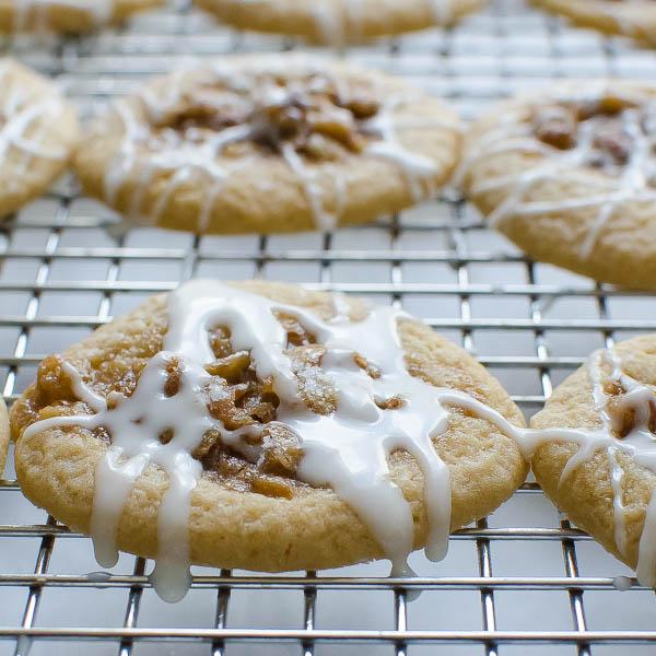 Glazing Sea Salt Bourbon Pecan Cookies