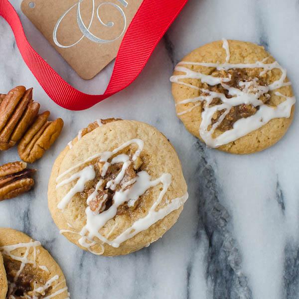 Sea Salt Bourbon Pecan Cookies with ribbon