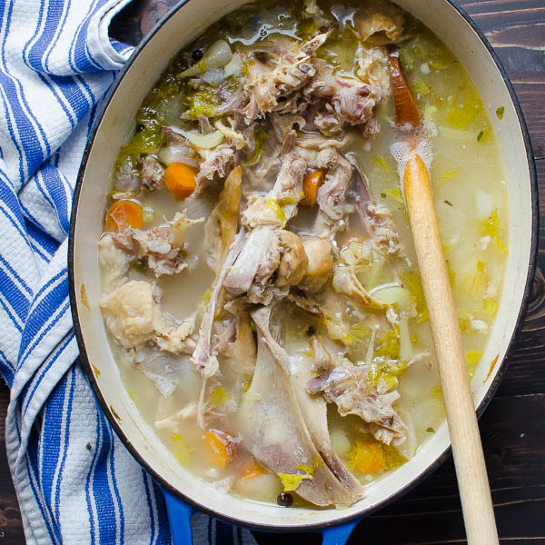 simmered turkey vegetables and water