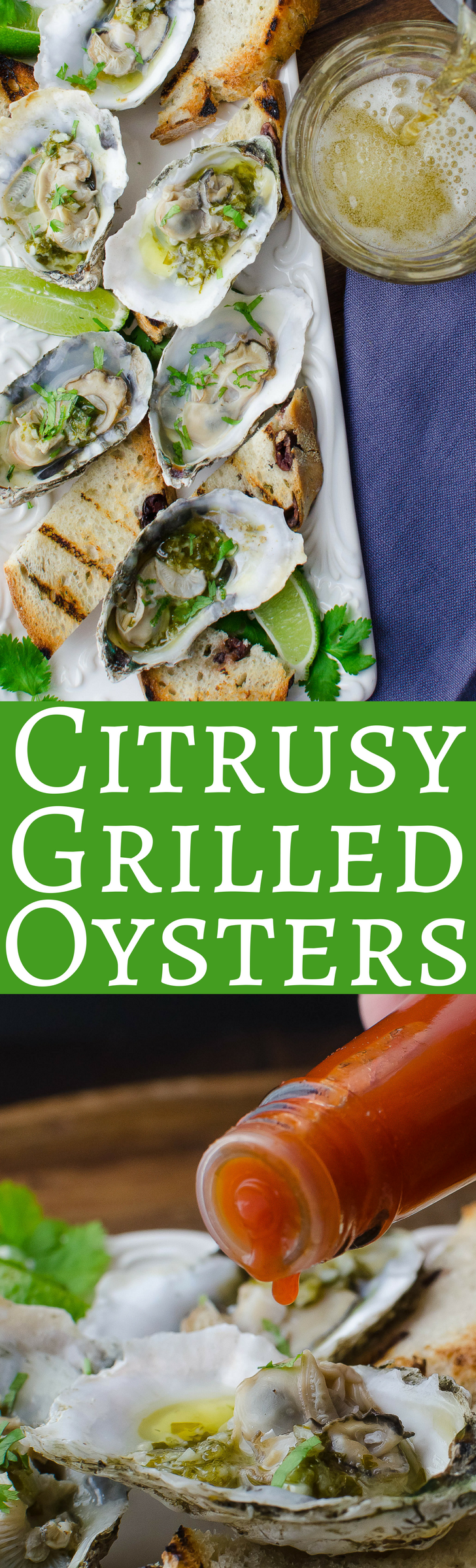 Tender, briny oysters grilled in their shells with a garlicky butter lime sauce and a dash of heat!  Easy to make - and so freakin' good!