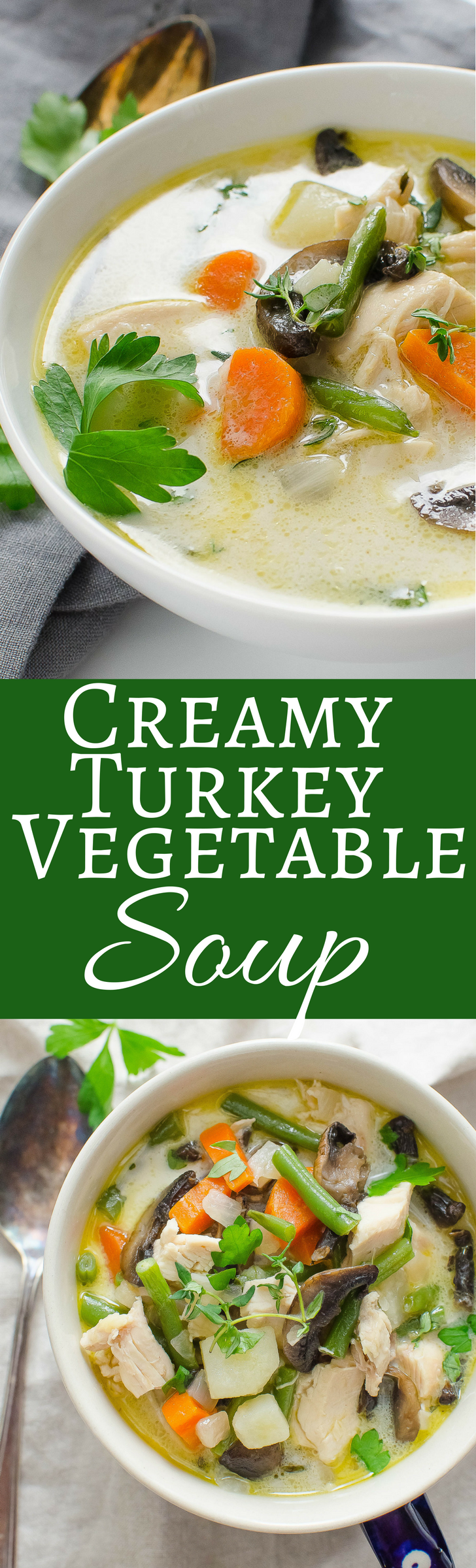 Made with a homemade turkey stock, potatoes, carrots, mushrooms and green beans -- plus a swirl of cream, it's what turkey soup should be!