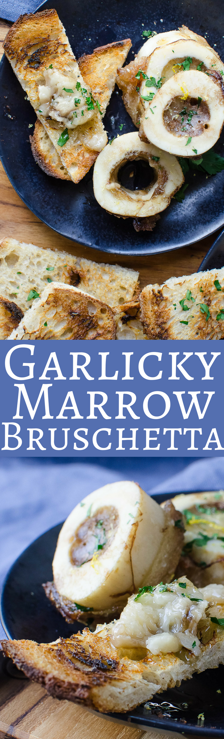 Grilled garlic-rubbed toasts with roasted bone marrow and gremolata!  The best way to start a meal!