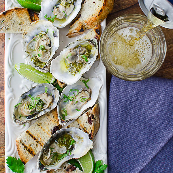 Citrusy Grilled Oysters with beer