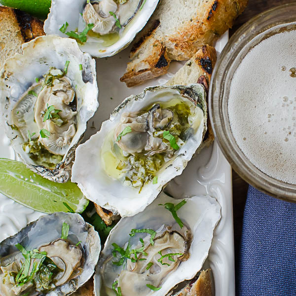 Citrusy Grilled Oysters with grilled toasts