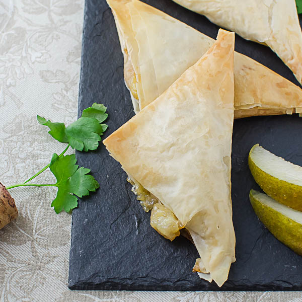 Arranging Pear Brie Phyllo Pockets