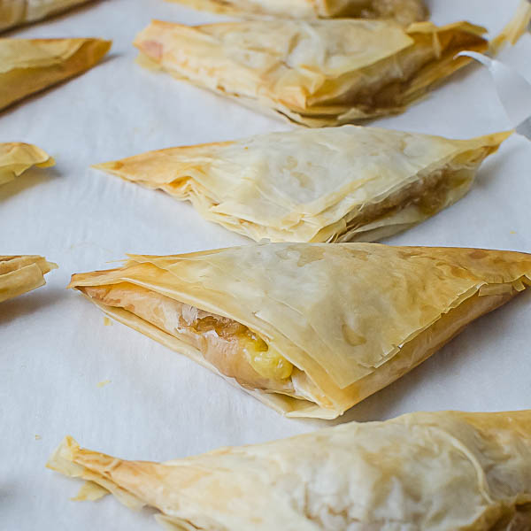 Baked Pear Brie Phyllo Pockets