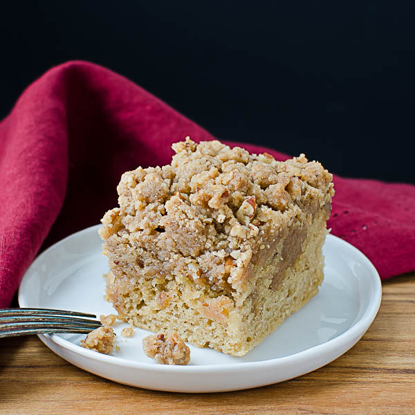 Cinnamon Pecan Crumble Coffeecake with fork