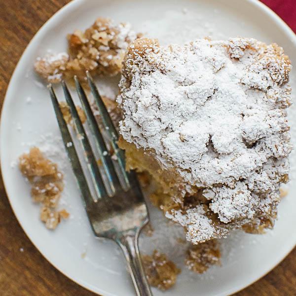 overhead shot of Cinnamon Pecan Crumble Coffeecake