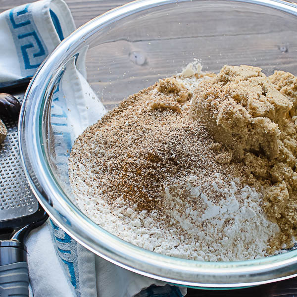 brown sugar, flour nutmeg, cinnamon