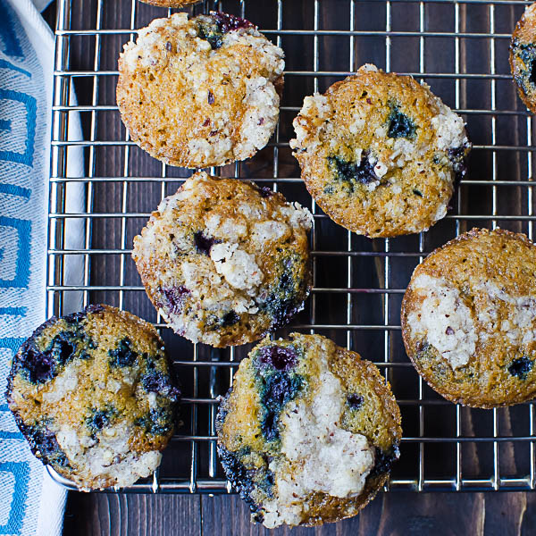 Gluten-Free Blueberry Muffins on a cooling rack
