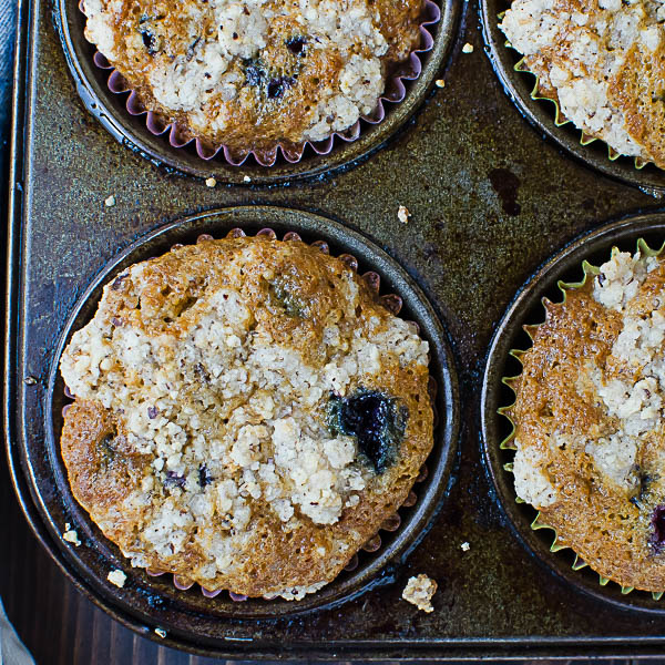 Gluten-Free Blueberry Muffins in muffin tin
