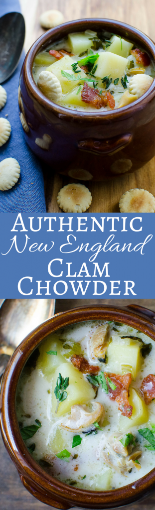 This authentic New England Clam Chowder recipe makes a whole pot of creamy soup, loaded with fresh clams, potatoes, bacon and a savory broth. #clamchowder #chowder #clams #newenglandclamchowder #clamchowderrecipe #freshclams #middleneckclams #bacon #potatoes #newenglandpatriotsfood #superbowlfood #superbowl #soups #stews #chowders #seafood #shellfish #shellfishrecipe