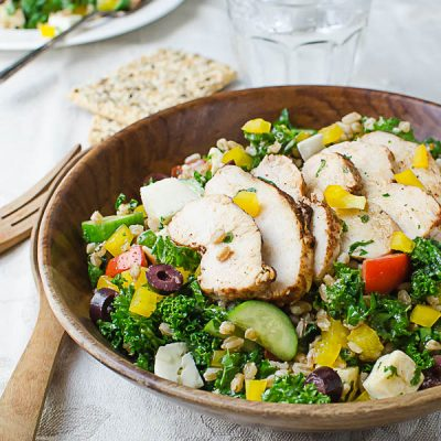 Chicken Kale Farro Salad with Honey Balsamic Dressing