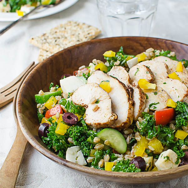 Chicken Kale Farro Salad with Honey Balsamic Dressing ...