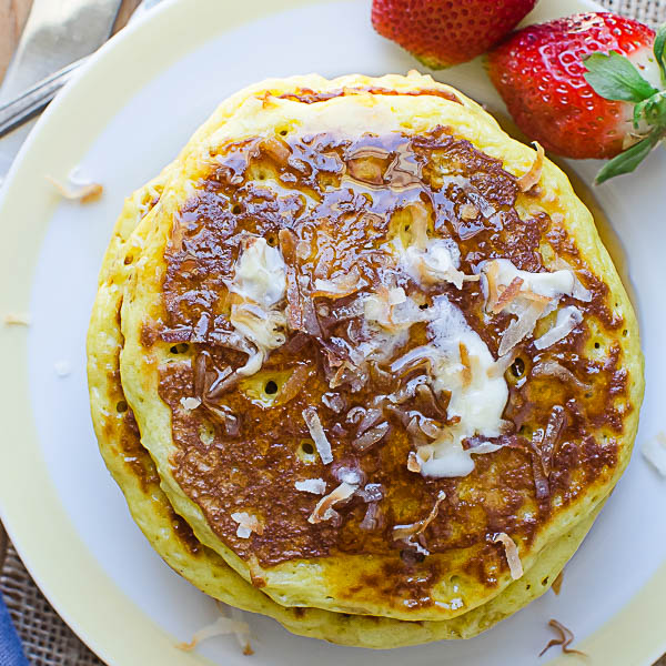 Coconut Orange Buttermilk Pancakes with syrup