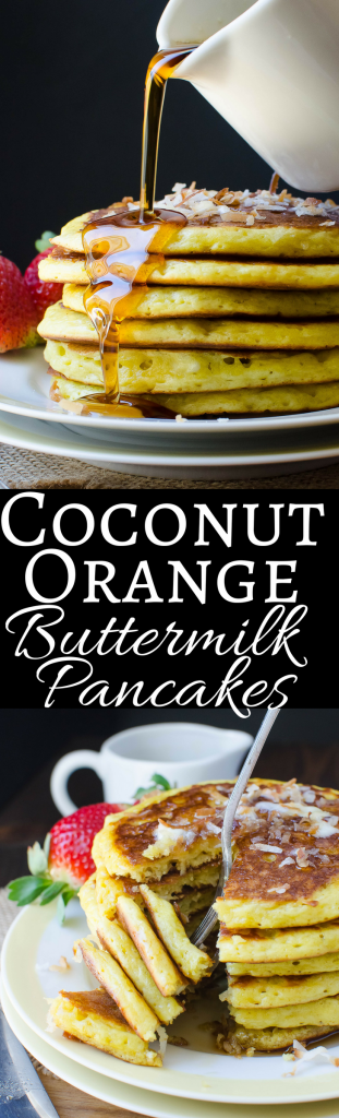 This is the best recipe for buttermilk pancakes! With the tropical flavors of coconut and orange, it's a delicious way to start the weekend!