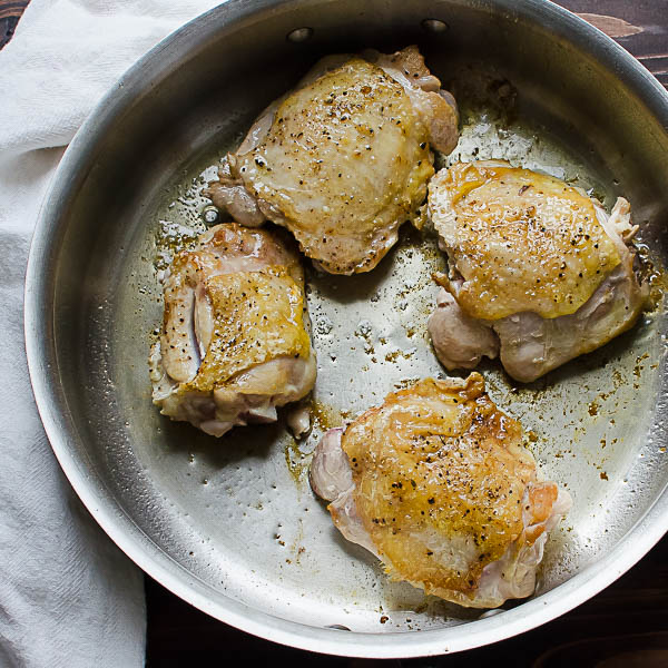 browning chicken thighs
